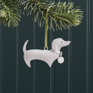 Handmade Pewter Tree Ornament - Dachshund
