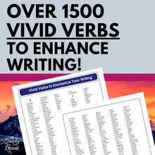 Load image into Gallery viewer, Vivid Verbs List to Enhance Writing - OVER 1500 Words!