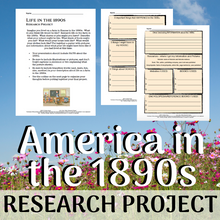 Load image into Gallery viewer, Life in America in the 1890s - Guided Research Graphic Organizer Template
