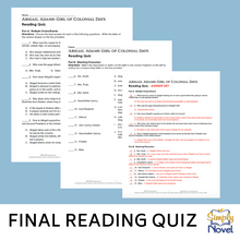 Load image into Gallery viewer, Abigail Adams: Girl of Colonial Days Book Study - Final Reading Quiz
