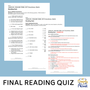 Abigail Adams: Girl of Colonial Days Book Study - Final Reading Quiz