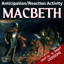 Load image into Gallery viewer, Macbeth Teaching Guide - Anticipation Reaction Pre-Reading Activity