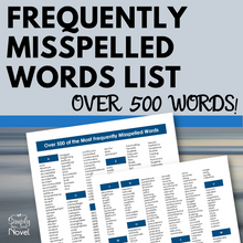 Load image into Gallery viewer, Frequently Misspelled Words List - Over 500 of the Most Misspelled Words Handout