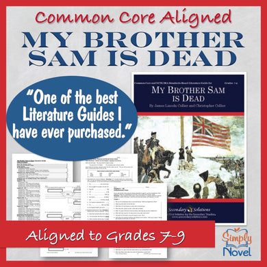 My Brother Sam Is Dead Common Core Aligned Novel Study Teaching Guide - DISTANCE LEARNING