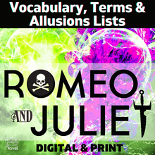 Load image into Gallery viewer, Romeo and Juliet Vocabulary, Allusions, Terms Lists