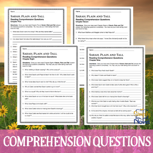 Sarah, Plain and Tall Novel Study - Reading Comprehension Chapter Questions