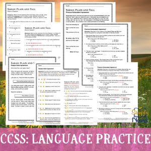 Sarah, Plain and Tall Language Practice Worksheets - Grammar, Parts of Speech