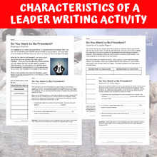 Load image into Gallery viewer, So You Want to Be President? Book Study - Characteristics of a Leader Writing Activities