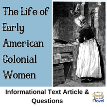 Load image into Gallery viewer, Life of Early Colonial American Women Informational Article & Questions