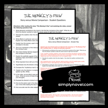 Load image into Gallery viewer, The Monkey's Paw Short Story - Story Versus Movie Comparison Questions