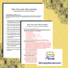 Load image into Gallery viewer, The Yellow Wallpaper Comprehension and Analysis Questions
