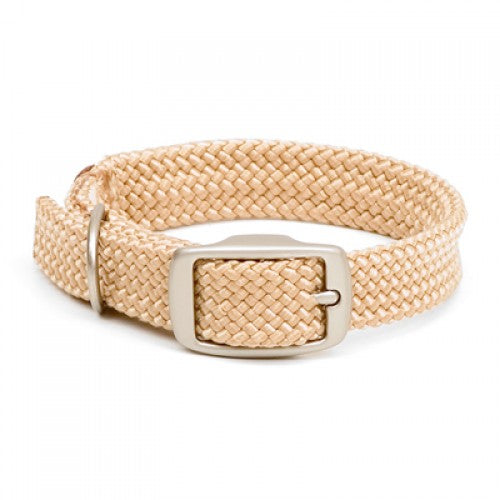 Large Double Braided Dog Collar - Sand