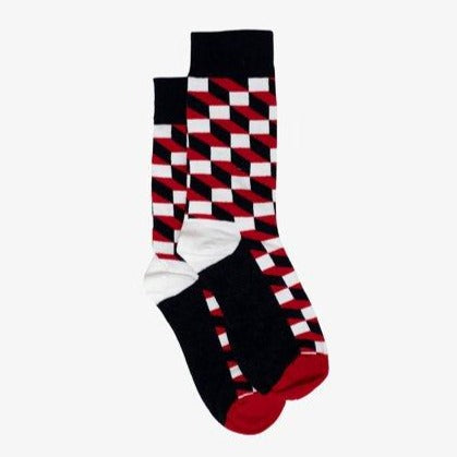 Men's Socks - Cube Print Black