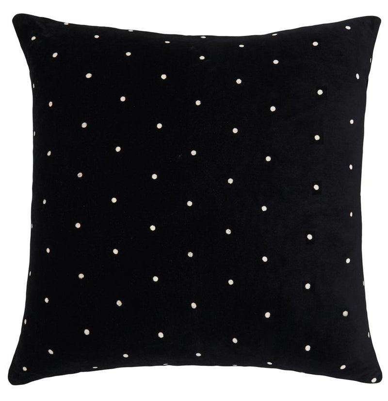 Black Pin Spot Velvet Euro Pillowcase