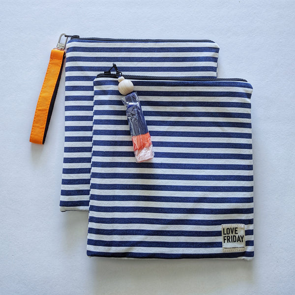Insulated Clutch - Navy and White Stripe
