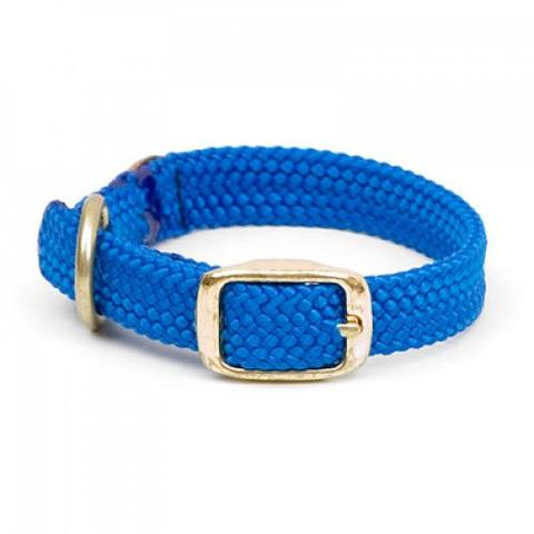 Small Double Braided Dog Collar - Blue