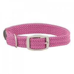 Small Double Braided Dog Collar - Raspberry