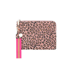 Paige Clutch with Wristlet - Pink Leopard Print