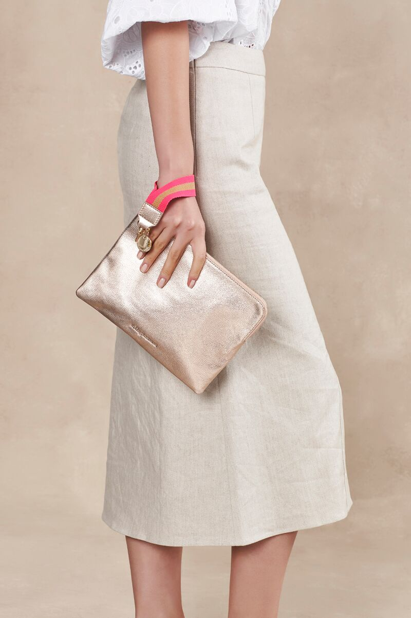 Paige Clutch with Wristlet - Rose Gold