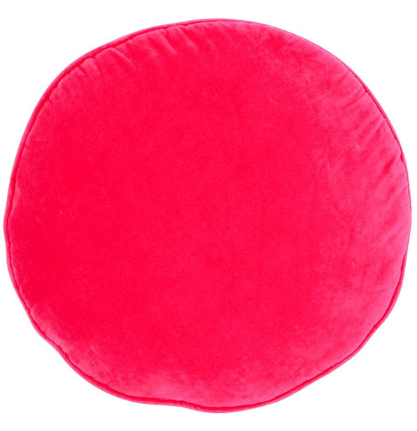 Velvet Penny Round Cushion - Hot Pink