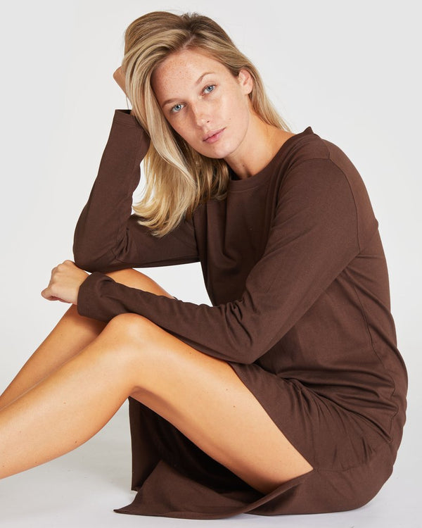 Boxy Long Sleeve Dress - Potting Soil