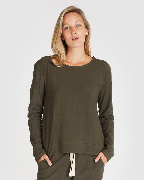 Raw Hem long Sleeve Slub Tee - Deep Forest
