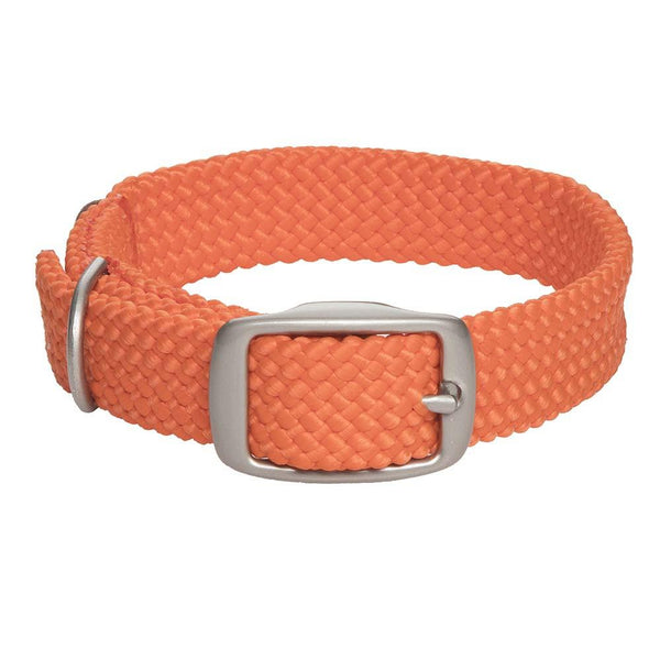 Small Double Braided Dog Collar - Orange