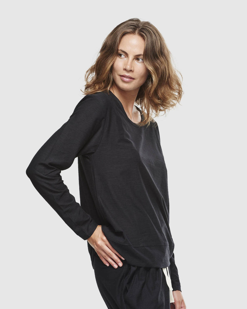 Long Sleeve Slub Top - Black