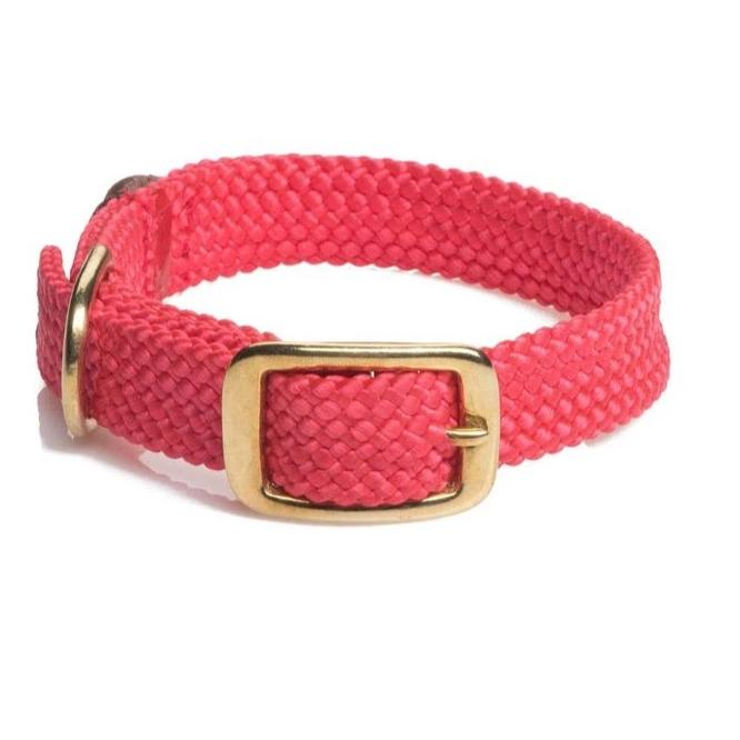 Large Double Braided Dog Collar - Red