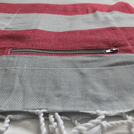 Turkish Towel with Pocket - Coral Stripe