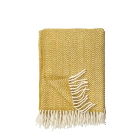 Chevron Lambswool Throw - Yellow