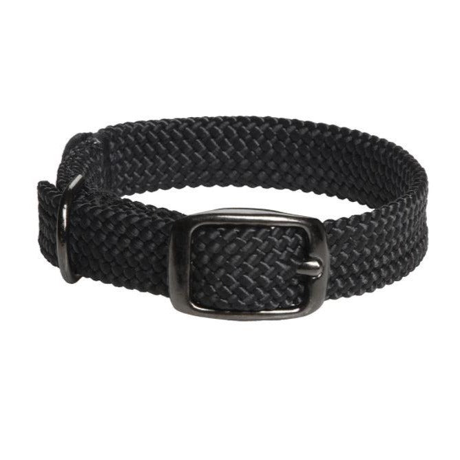 Small Double Braided Dog Collar - Black Metallic