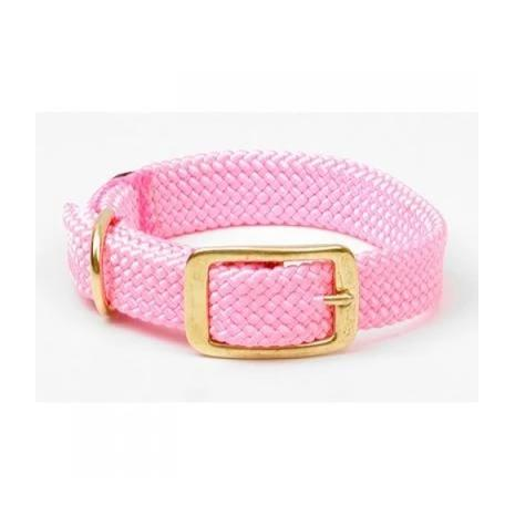 Large Double Braided Dog Collar - Pink