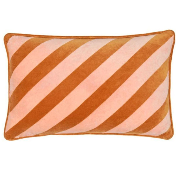 Pink Stripe Velvet Lumbar Cushion Cover