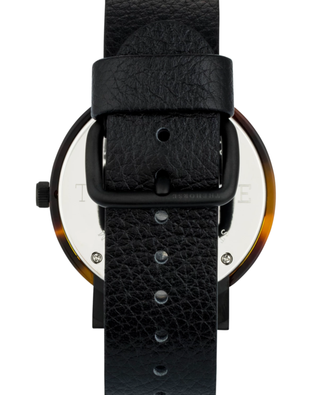 The Resin - Tortoise Shell with Black Leather Strap