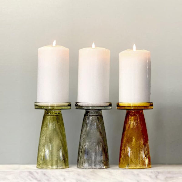 Ripple Glass Candle Holder set