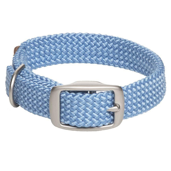 Small Double Braided Dog Collar - Sky Blue
