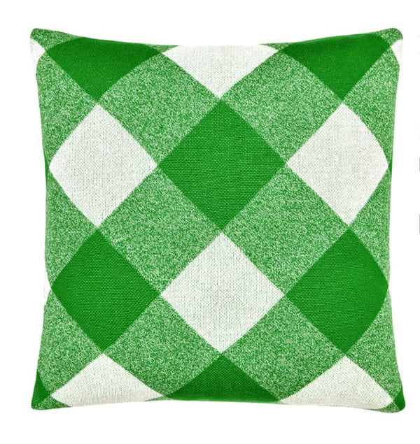 Green Tartan Knit Cushion Cover