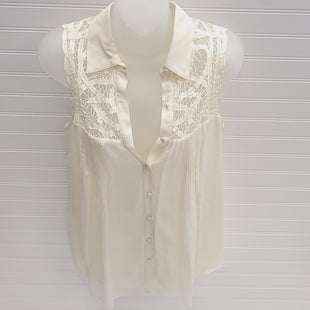 Primary Photo - BRAND:  CMB STYLE: TOP SLEEVELESS COLOR: IVORY SIZE: S OTHER INFO: BLUE TASSEL (ANTHROPOLOGIE} - SKU: 239-23918-38476