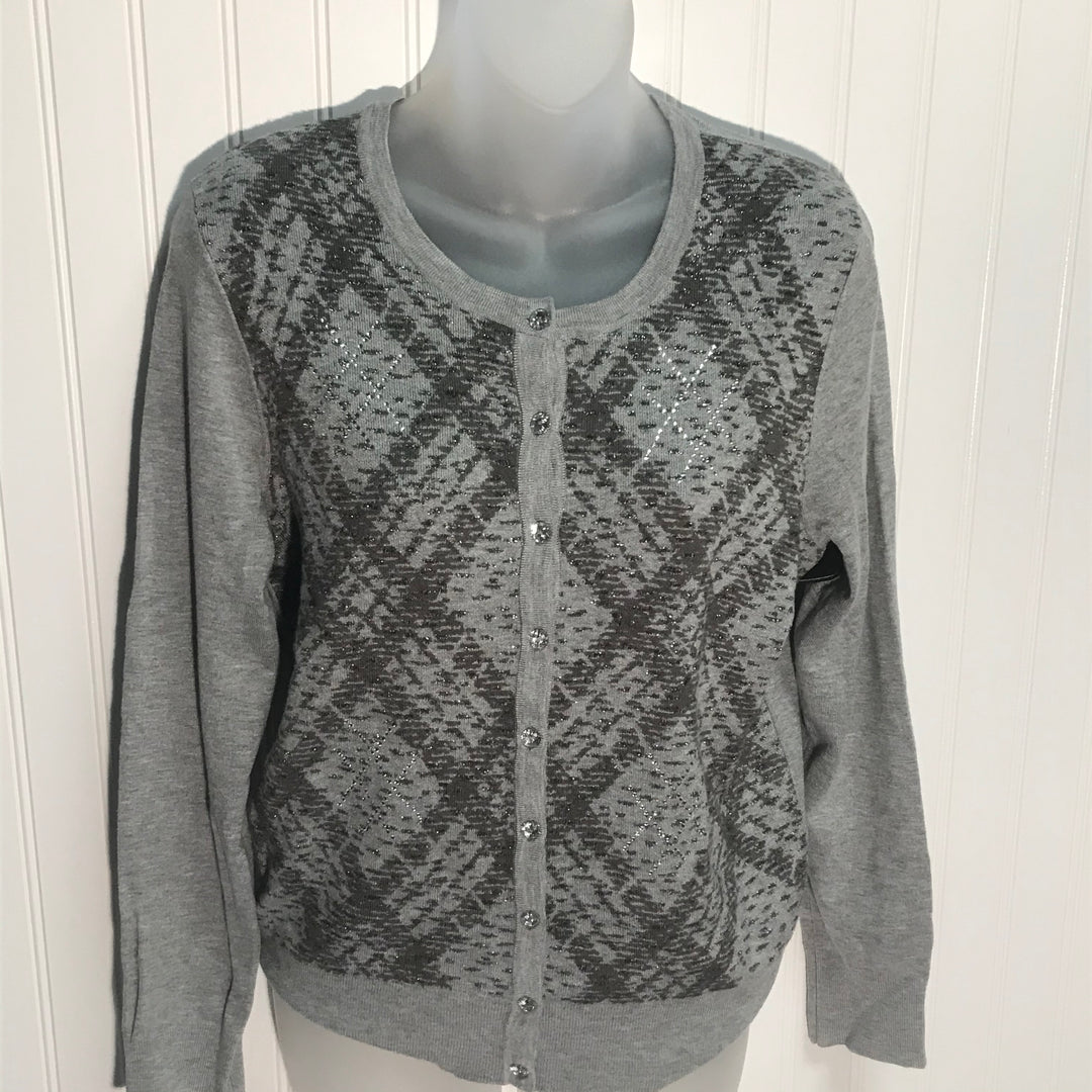 Primary Photo - BRAND: CHARTER CLUB <BR>STYLE: SWEATER CARDIGAN LIGHTWEIGHT <BR>COLOR: GREY & SPARKLES <BR>SIZE: M <BR>SKU: 239-23911-70792