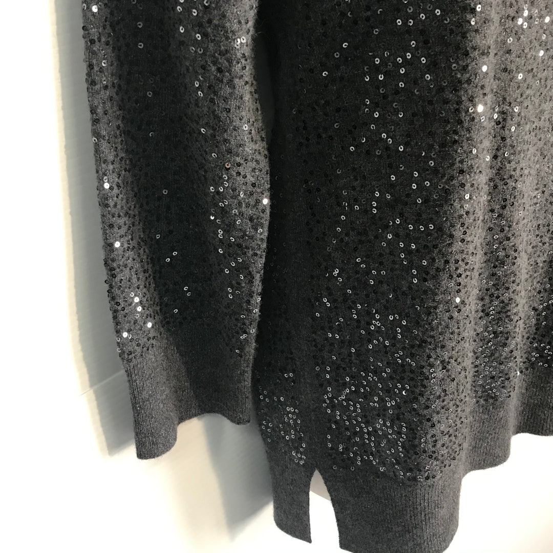 Photo #1 - BRAND: NEIMAN MARCUS<BR>STYLE: SWEATER CASHMERE<BR>COLOR: SEQUIN GREY<BR>SIZE: S<BR>SKU: 239-23918-31916