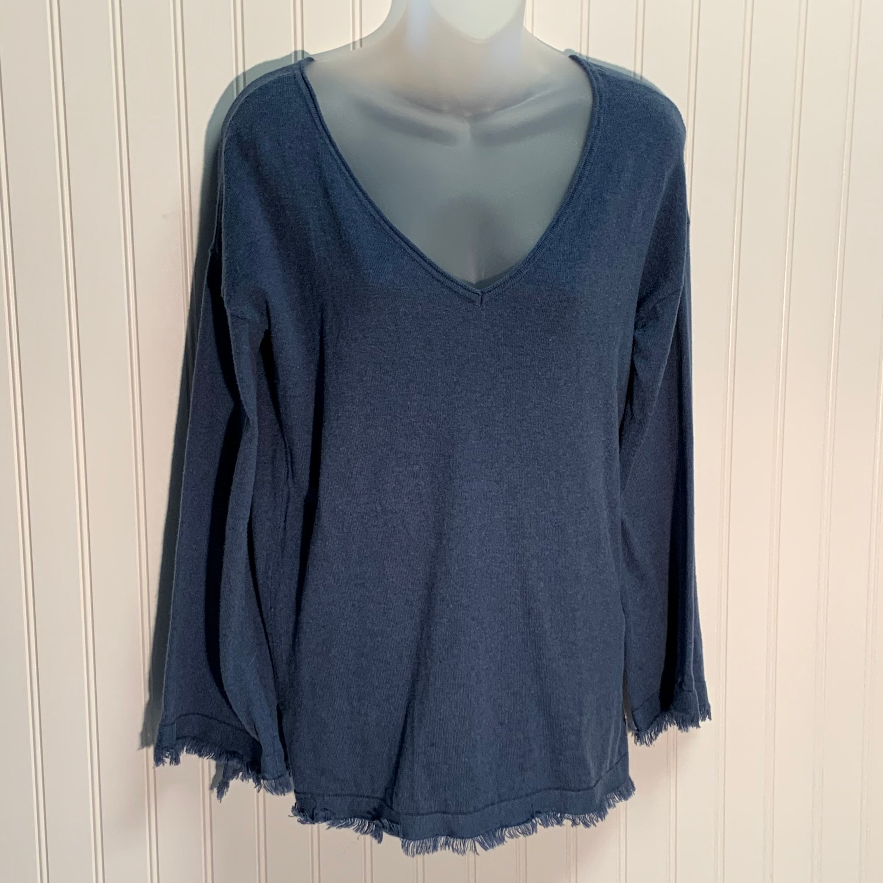 Primary Photo - BRAND: 525 AMERICA <BR>STYLE: SWEATER LIGHTWEIGHT <BR>COLOR: BLUE <BR>SIZE: S <BR>OTHER INFO: 95% COTTON 5 % CASHMERE <BR>SKU: 239-23911-70398