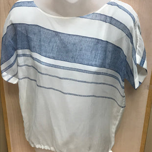 Primary Photo - BRAND: CLUB MONACO STYLE: TOP SHORT SLEEVE COLOR: WHITE BLUE SIZE: S SKU: 239-23911-69881SHEER