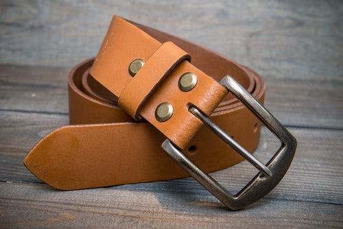 Men's Italian leather belt (3,5-4 mm thick), Tan color, width 38 mm
