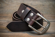 Load image into Gallery viewer, Men's Italian leather belt (3,5-4 mm thick), Dark Brown color