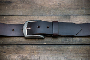 Men's Italian leather belt (3,5-4 mm thick), Dark Brown color