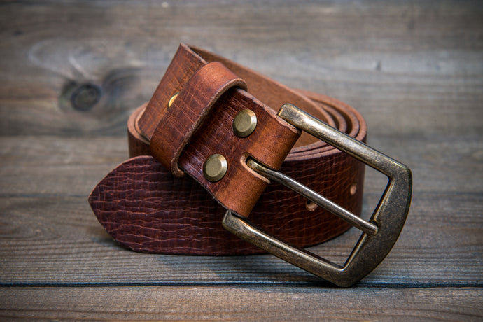 Men's Italian leather belt (3,5-4 mm thick), Torre bull cognac