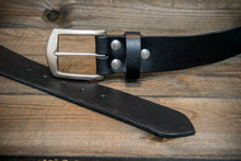 Load image into Gallery viewer, Men's Italian leather belt (3,5-4 mm thick), Torre bull black