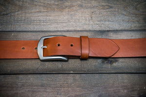 Men's Italian leather belt (3,5-4 mm thick), Oily Cognac, width 38 mm