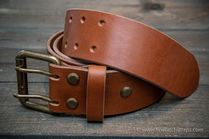 Belt (3,5-4 mm thick), Italian Leather. Handmade in Finland. Men's belt hand-made